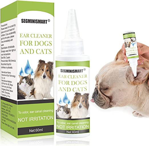 SEGMINISMART Limpiador de Oidos para Perros, Limpiador de Oídos para Perros y Gatos, Limpia, desodoriza, Elimina los olores, 60 ml: Amazon.es: Productos para mascotas