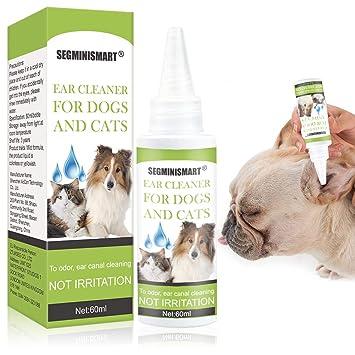 SEGMINISMART Limpiador de Oidos para Perros, Limpiador de Oídos para Perros y Gatos, Limpia, desodoriza, Elimina los olores, 60 ml