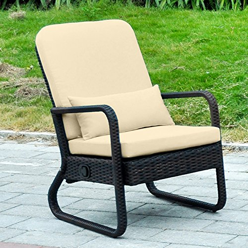 outdoor adjustable wicker recliner chair with cushions rattan patio chaise lounge chair all. Black Bedroom Furniture Sets. Home Design Ideas