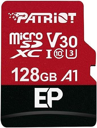 TALLA 128GB. Patriot Memory Tarjeta de Memoria MicroSDXC EP Series A1 V30 128 GB hasta 90MB/Sec PEF128GEP31MCX