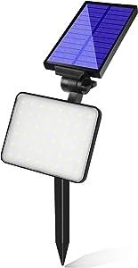 Bebrant 48 LEDs Solar Landscape Spotlights, Dusk-to-Dawn IP65 Waterproof Solar Powered Spot Lights, 6500K Daylight White, Outdoor Wall Lights for Garden Yard Driveway Porch Walkway, 1 Pack