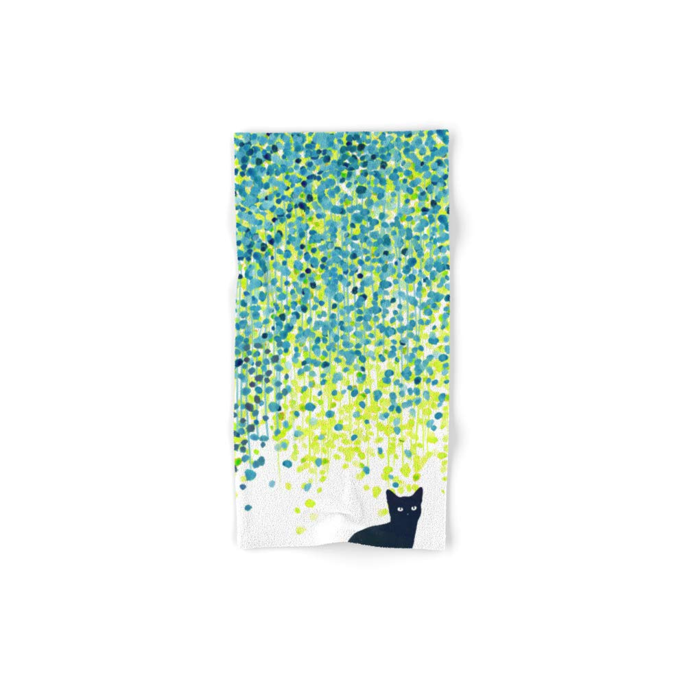 Society6 Bath Towel, 30'' x 15'', Cat in The Garden Under Willow Tree by budikwan