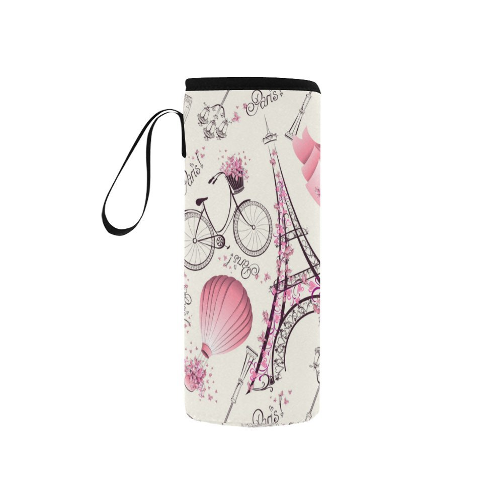 InterestPrint Romantic Paris Bike Pink Neoprene Water Bottle Sleeve Insulated Holder Bag 7.04oz-12.67oz, Eiffel Tower Sport Outdoor Protable Cooler Carrier Case Pouch Cover with Handle
