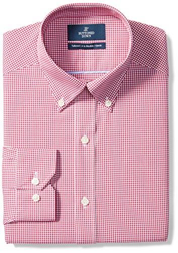 BUTTONED DOWN Men's Tailored Fit Button-Collar Pattern Non-Iron Dress Shirt, Burgundy Gingham, 16.5