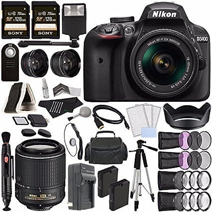 Nikon D3400 Cámara DSLR con Lente de 18-55 mm (Negro) + Lente ...