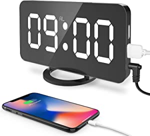 "Digital Alarm Clock, 6.5"" Large LED Display with Dual USB Charger Ports, Auto Dimmer Mode, Easy Snooze Function, Modern Mirror Desk Wall Clock for Bedroom Home Office - Black"