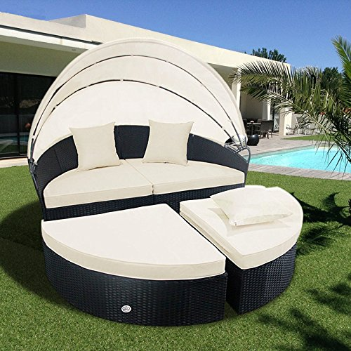 Cloud Mountain 4 Piece Patio Rattan Round Canopy Daybed Outdoor Cushioned Wicker Furniture Daybed Retractable Garden Lawn Sectional Sofa Set, Black Rattan Creamy White Cushions (Outdoor White Sofa)