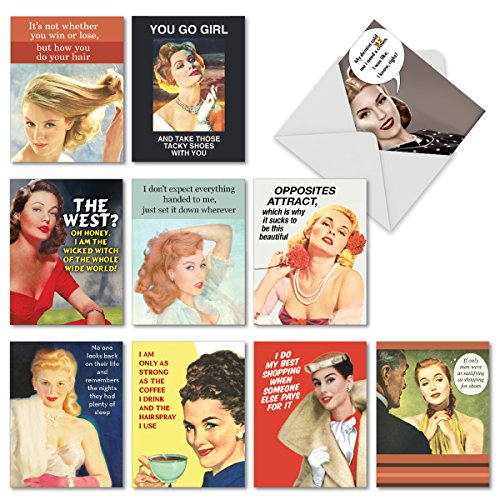 Sassy and Retro Note Cards 4 x 5.12 inch - 10 Assorted 'Vintage Venom' Funny Greeting Cards w/ Envelopes - Blank, All Occasion Notecards from Women, Girls - Boxed, Classic, Stationery M6621OCB