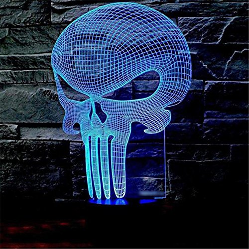 Skull 3D Illusion Lamp for Halloween Decor, Elstey 7 Color Changing Touch Table Desk LED Night Light Great Kids Gifts Home Decoration (W Hotel Halloween Hong Kong)