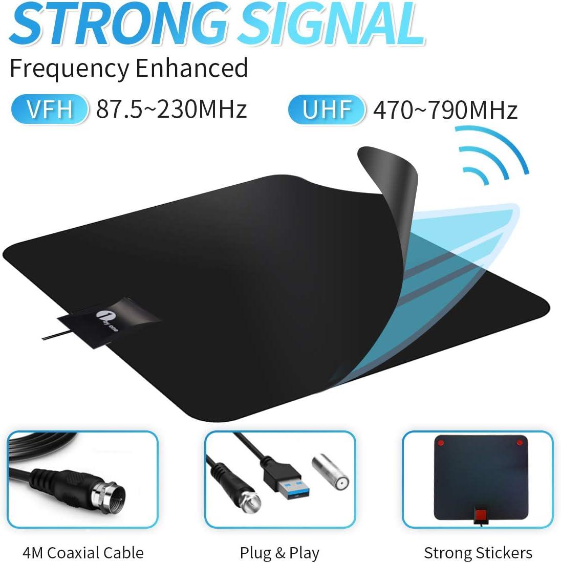 para ventana // pared antena de habitaci/ón para recepci/ón de TV sin cable HD con amplificador DVB-T2//DVB-T 4K 1byone Antena de interior antena digital terrestre para televisi/ón