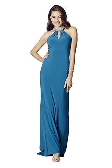 Tiffanys Illusion Prom Teal Abbie Jersey Long Prom Dress UK 6