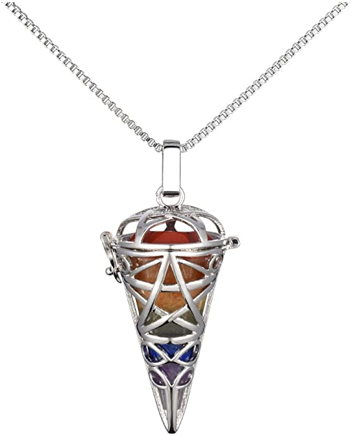 JOVIVI Healing Crystal Necklace Indian Agate Stone Hexagonal Pointed Dowsing Pendulum Divination Reiki Chakra Pendant Necklace with Adjustable Cord