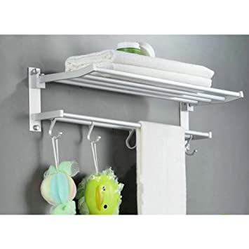 Amazon.com: Matt Aluminum Bath Towel shelves Double Towel Bar 24 ...
