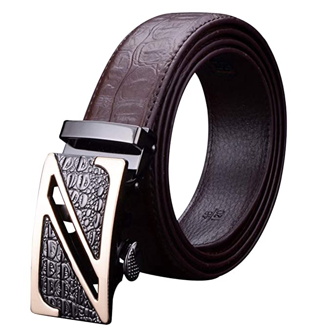 Cinturón hombre cuero real/diseño aleación Z hebilla marrón negro ...