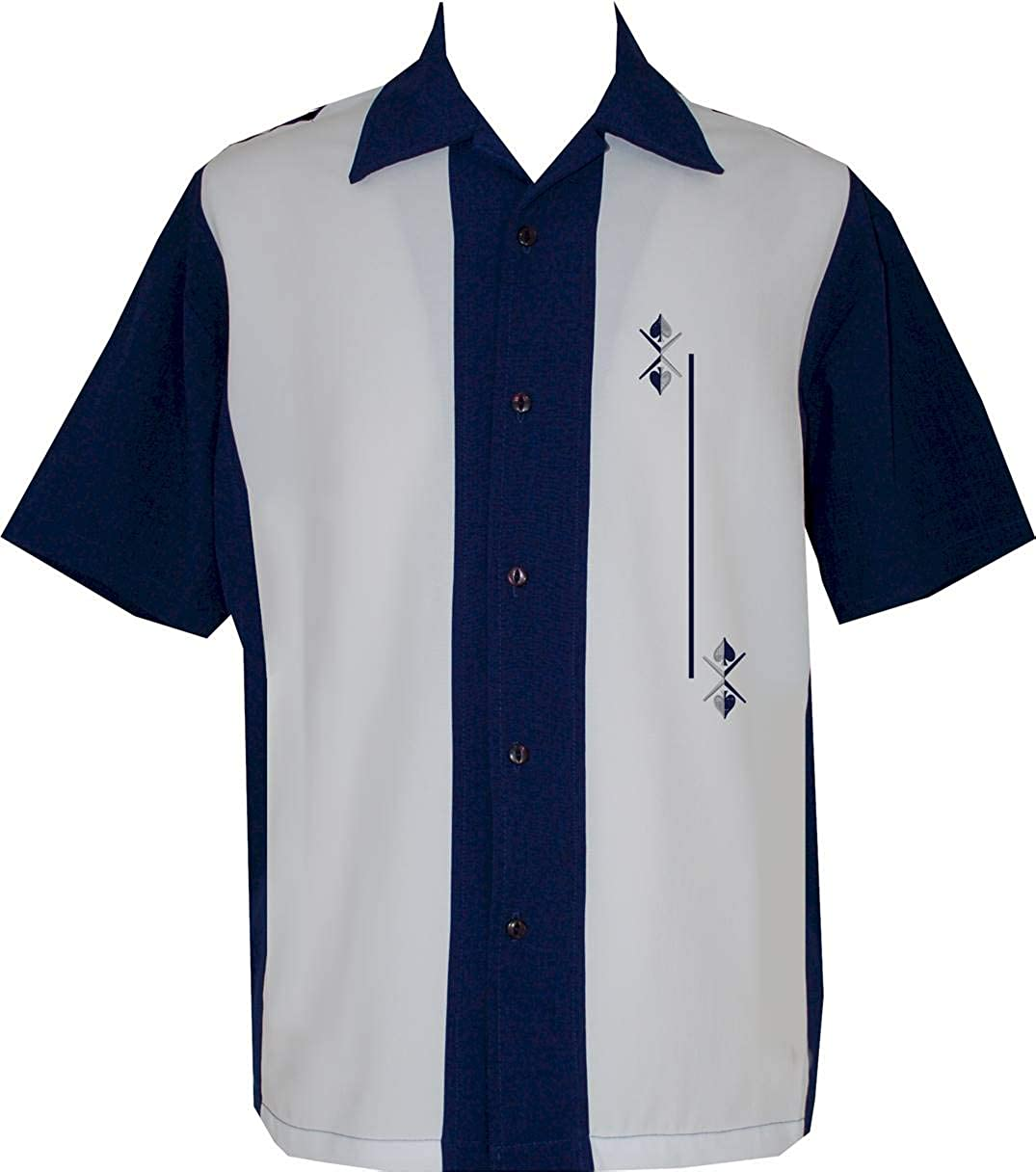 Mens Vintage Shirts – Casual, Dress, T-shirts, Polos Lucky Paradise Mens Camp Shirt Vintage Cuban Style Bowling Shirt Retro Blue Ice $68.95 AT vintagedancer.com