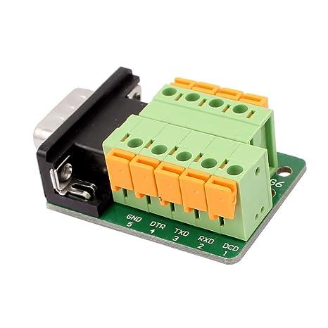 Amazon.com: eDealMax DB9 adaptador Macho 9 Posición RS232 Serial al Terminal sin soldadura de señal del tablero del desbloqueo del módulo: Electronics