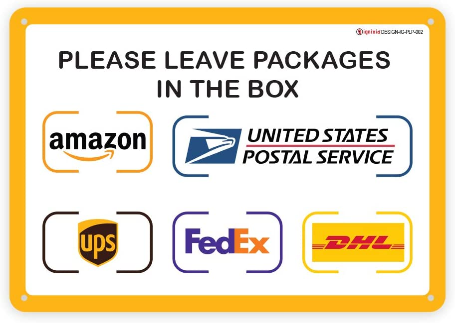 IGNIXIA Package Delivery Sign for Home Amazon Leave Packages Here Sign for FedEx, Amazon, DHL, UPS, USPS Signs- Fade Resistant- Easy Mounting- 10