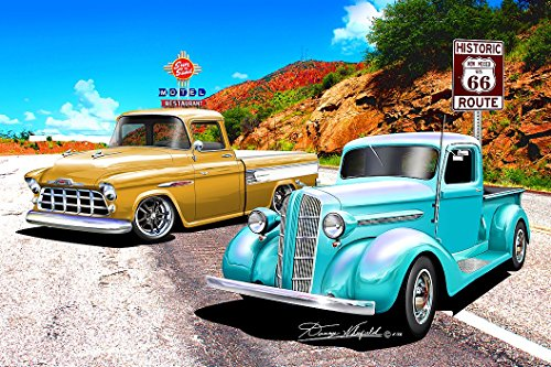 Price comparison product image 1938 & 1957 Chevy Chevrolet Pickup Truck Route 66 Picture on Mouse Pad mousepad Classic Vintage Old Cars Hot Rods Speed Computer Desktop Supplies