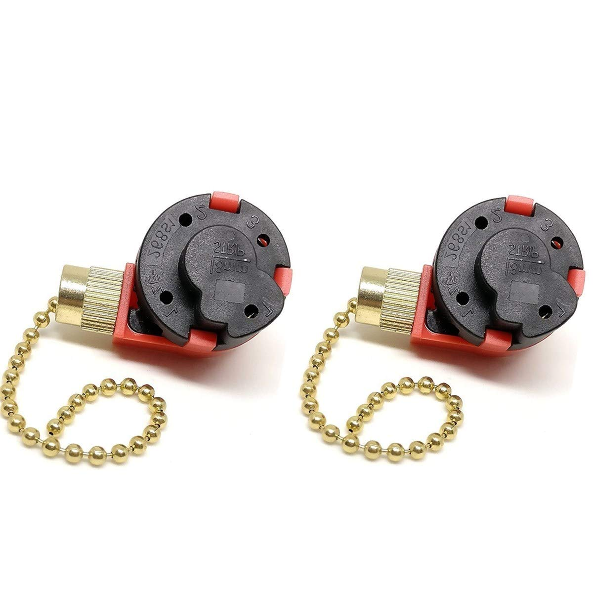 2Pack Zing Ear ZE-268S1 Ceiling Fan Switch 3 Speed 4 Wire, Ceiling Fan Switch with Pull Chain Control for Ceiling Fans, Lamps and Wall Light (Brass)