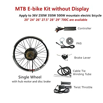 CSCBike MTB Ebike Conversion Kit 36V 48V No Display Mountain Electric  Bicycle Rear Wheel Conversion Parts with Controller PAS Brake Lever