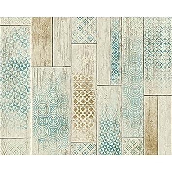 AS Creation Holzplatte Muster Tapete Küche Badezimmer Stammes  Motiv    Braun Grün 330892