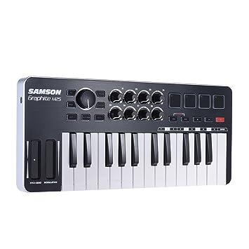 ammoon Samson Mini teclado controlador 25 teclas MIDI controlador USB con cable USB (4 Pad/8 assegnabili puños): Amazon.es: Instrumentos musicales