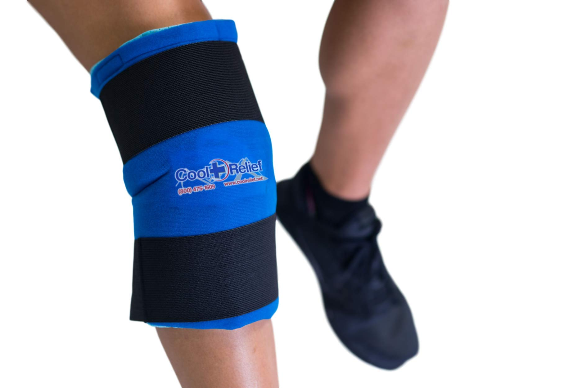 Cool Relief Reusable Cryotherapy Ice Pack for Knee Relief with Flexible Gel Inserts and Adjustable Compression Straps 11''x12'' Coverage Right or Left Knee