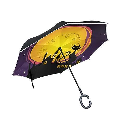 COOSUN Noche de Halloween con el gato Negro de la capa doble del paraguas invertido inversa