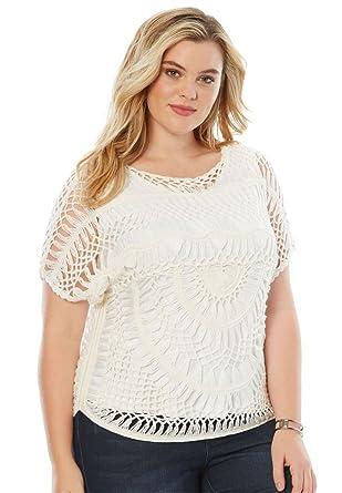 c93a019dbab4b Roamans Women s Plus Size Cropped Crochet Sweater at Amazon Women s  Clothing store