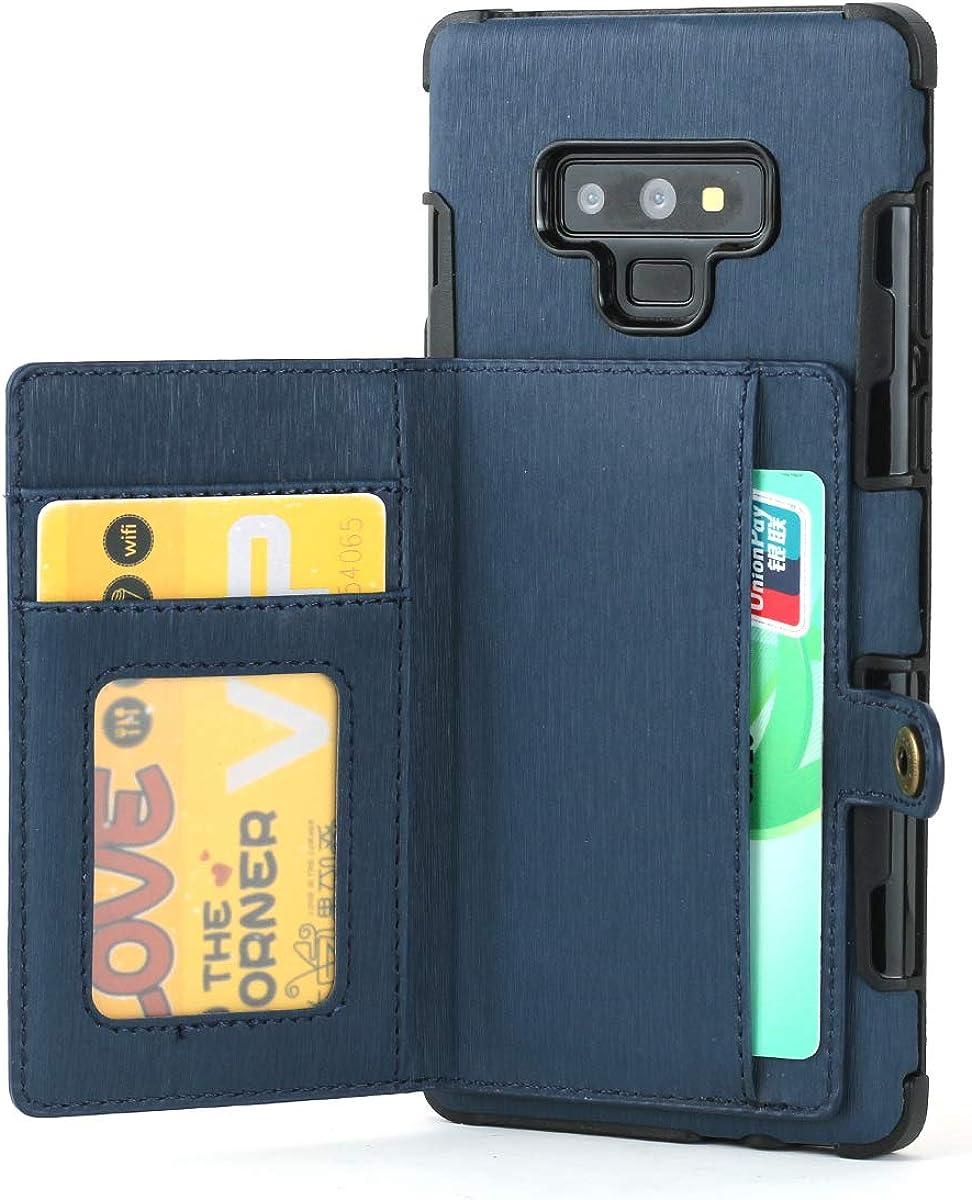 TPU Bumper+Card Holder Slot+Premium Texture Cloth Design LIQQLY Wallet Case Wallet Case for Galaxy Note 9
