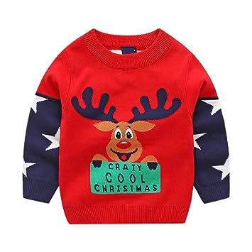 5e3237ccc44a1 Enfant Noël Pull Hiver Tricoté Sweater À Manches Longues Retro Vêtements  2-3 Ans