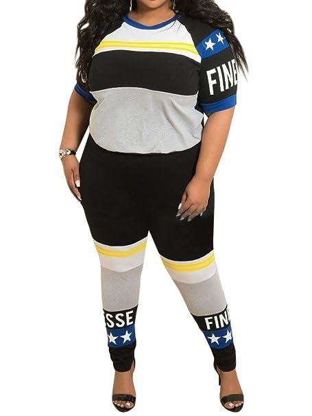Amazon.com: YONYWA - Traje de mujer de manga corta, talla ...