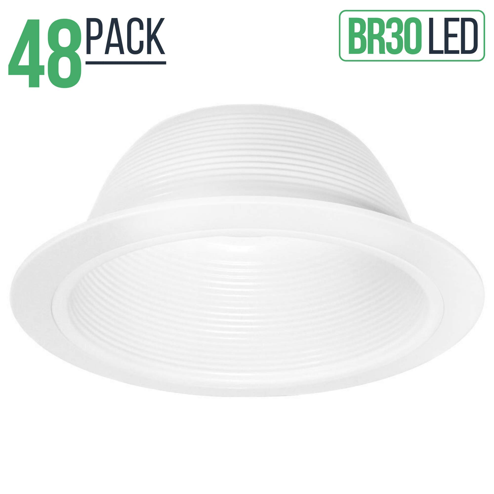 6'' Inch White Baffle Recessed Can Light Trim Replaces Halo 310 W Juno 24W-WH - 48 Pack by Four-Bros Lighting