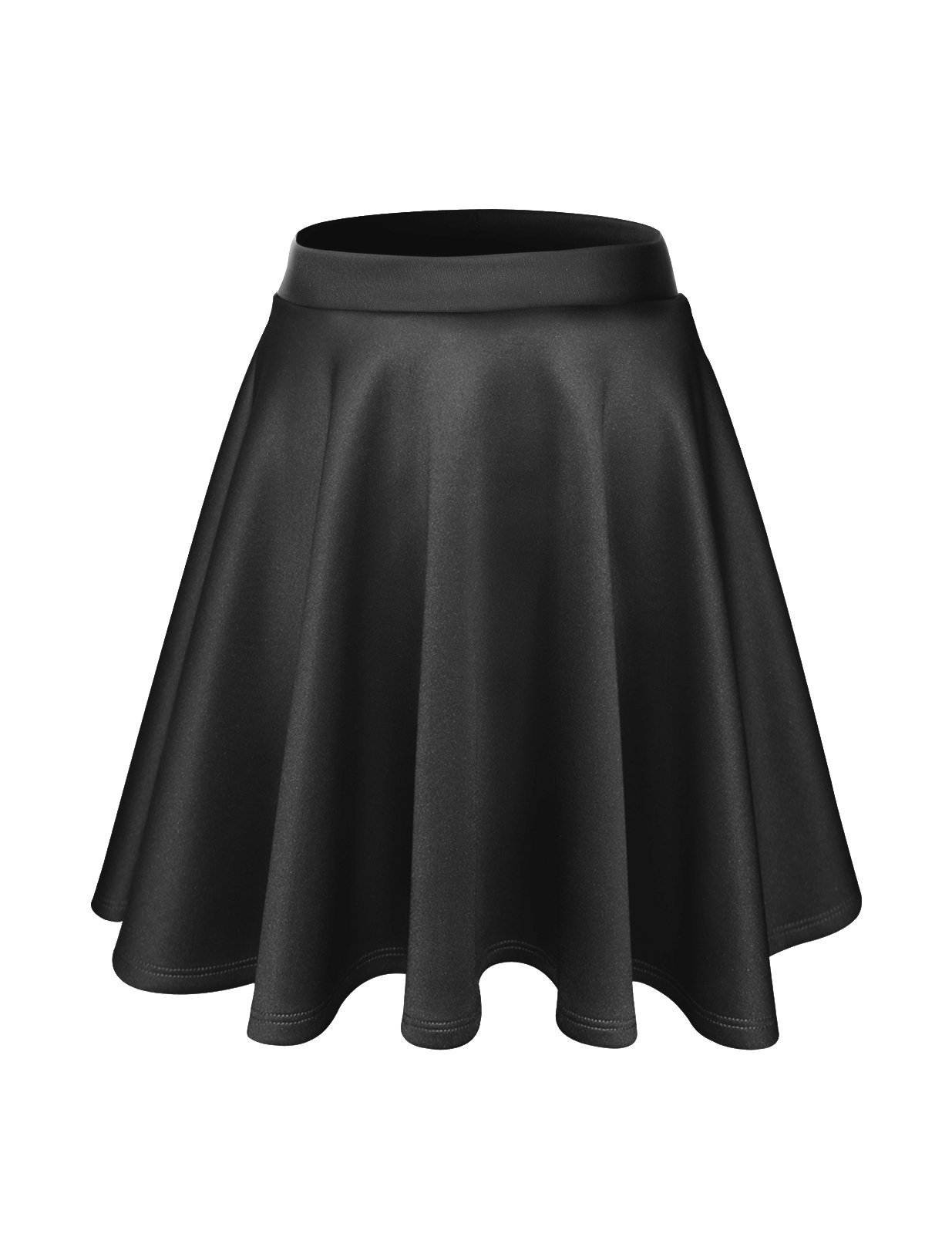 FLATSEVEN Womens Flared Skater Mini Skirt (Made in USA) (WSCX101) Charcoal, XL