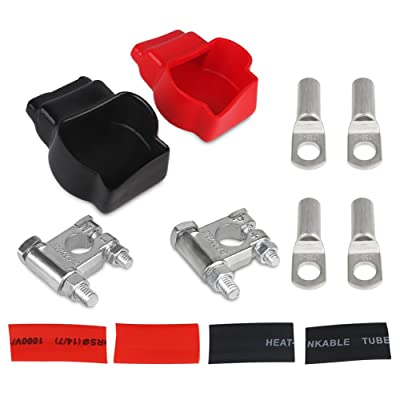WATERWICH Military Style Battery Terminal Top Post Kit Battery Terminal Connector (Red & Black) with Covers for Ship Boat Small Yacht RV Camper Truck Car Vehicle (Battery Terminal Top Post Kit): Automotive