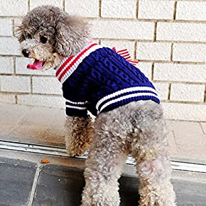 Alfie Pet by Petoga Couture - Sunny Cable Knit Sweater with Ribbon - Color: Navy, Size: XXS