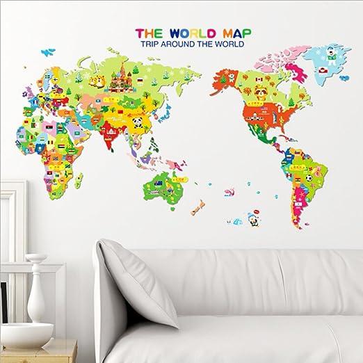 Cartoon World Map Vinyl Wall Sticker Decal Mural For Children DIY Bedroom Decor