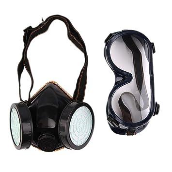 Nouveau filtre de protection double masque anti-gaz chimique anti-poussière  peinture masque respiratoire a2fb1fff0e6b
