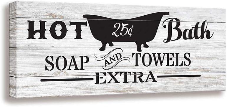Hot Bath BathroomSigns of Framed | Canvas Print, Vintage Woodgrain Background Design Mural | Family Bathroom Laundry Toilet Decoration Wall Art Plaque (8 X 16 inch, Bathroom W)
