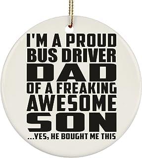 Proud Bus Driver Dad of Awesome Son - Circle Ornament Decorazione Natalizia Circolare Ceramica - Regalo per Compleanno Anniversario Festa della Mamma del papà Pasqua