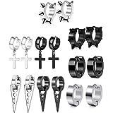 JZZJ 8 Pares Acero Inoxidable Pendientes para Hombres Mujeres Set Aro Pendiente Piercing Cross Dangle Huggie Punk Pendi…