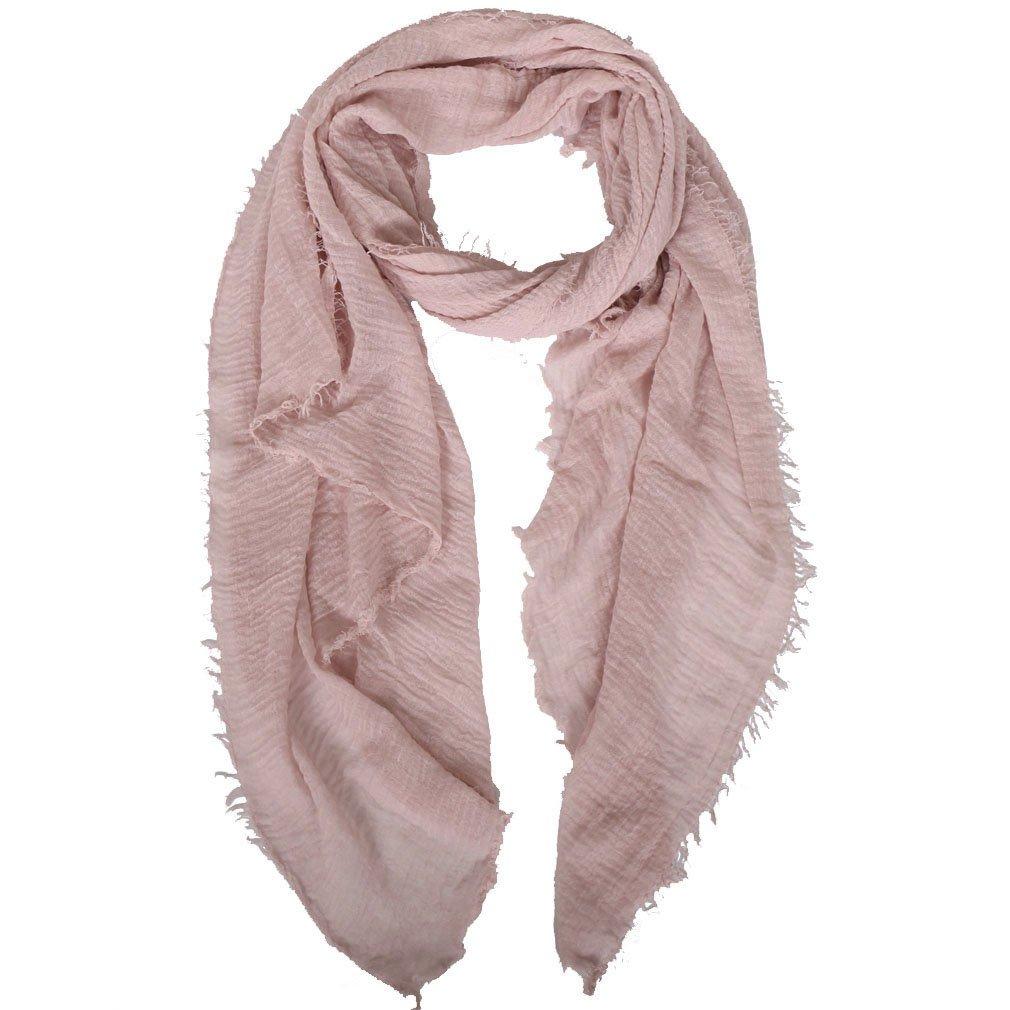 LMVERNA crinkled scarf hijab Scarf Cotton Scarf Shawl Solid Color muslim scarves (Light pink)