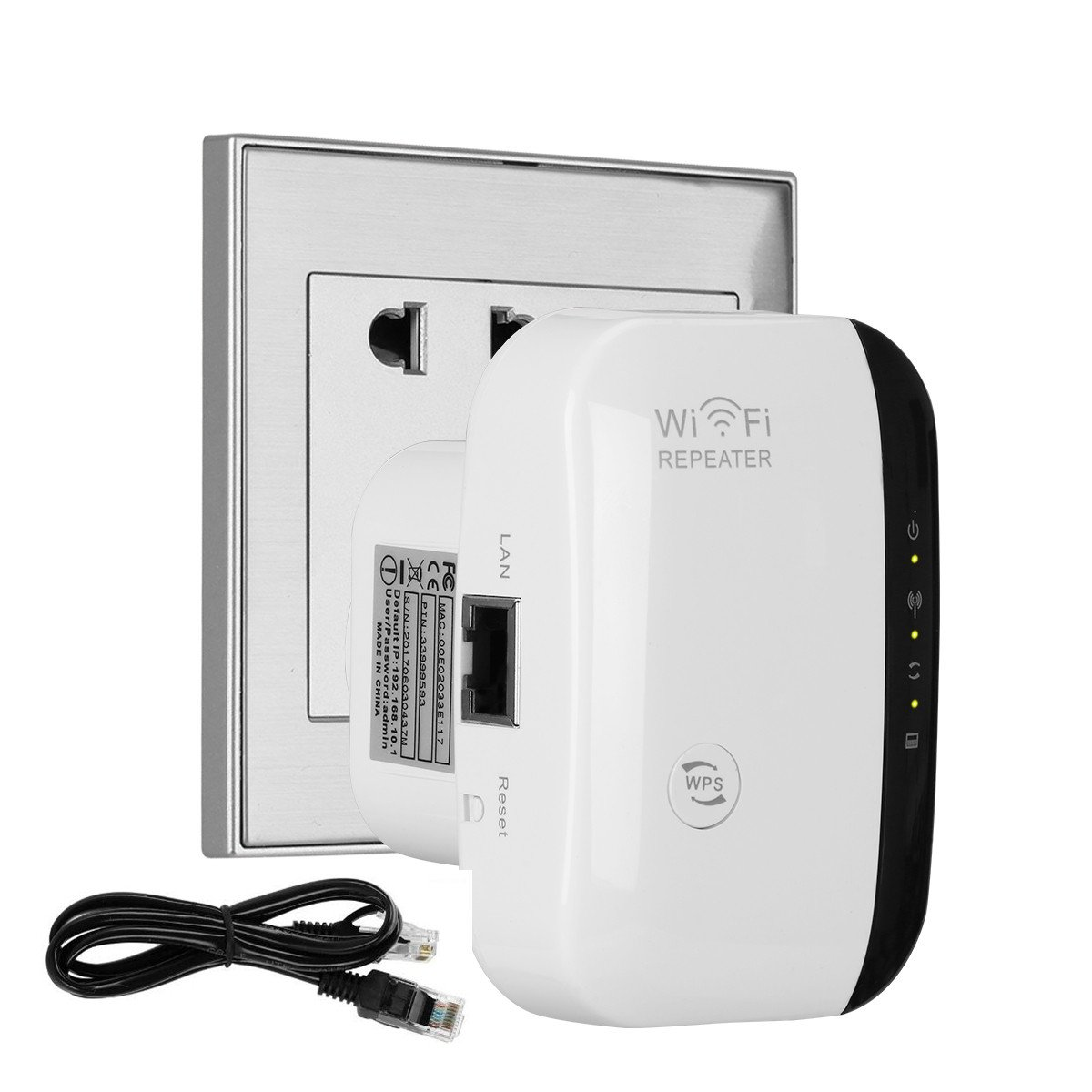 WIFI Extender, Flyisland WIFI Booster Wireless Repeater WIFI Range Extender Antenna AP/Repeater with Long Range Extender Integrated Antenna,RJ45 Port, WPS Dual Band 300Mbps 2.4GHz (300Mbps) by Flyisland