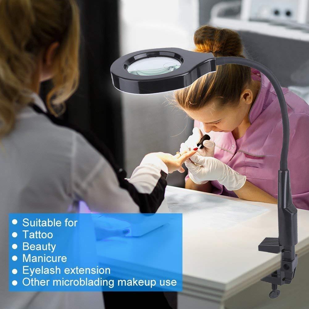 Lupa con LED Luz 5X de escritorio Belleza Maquillaje Tatuaje 2 EN 1 Lámpara Profesional tool con abrazadera (EU Stecker): Amazon.es: Hogar