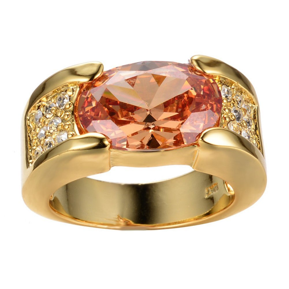 Rny Jewelry Yellow Gold Champagne Topaz Jewelry Rings Wedding Ring For Women Wedding Bridal Rings