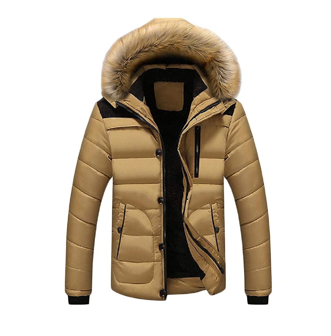 YUNY Mens Removable Hood Winter Thicken Quilted Fur Collar Outdoor Coat Khaki 2XL