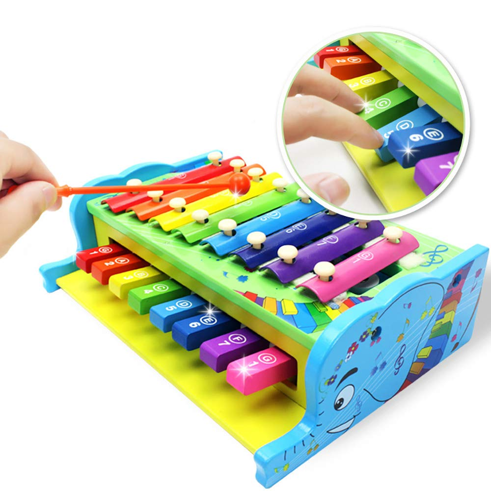 Classic xylophone, children's xylophone, musical toys with children's safety, perfect musical instrument for children, music cards and piano