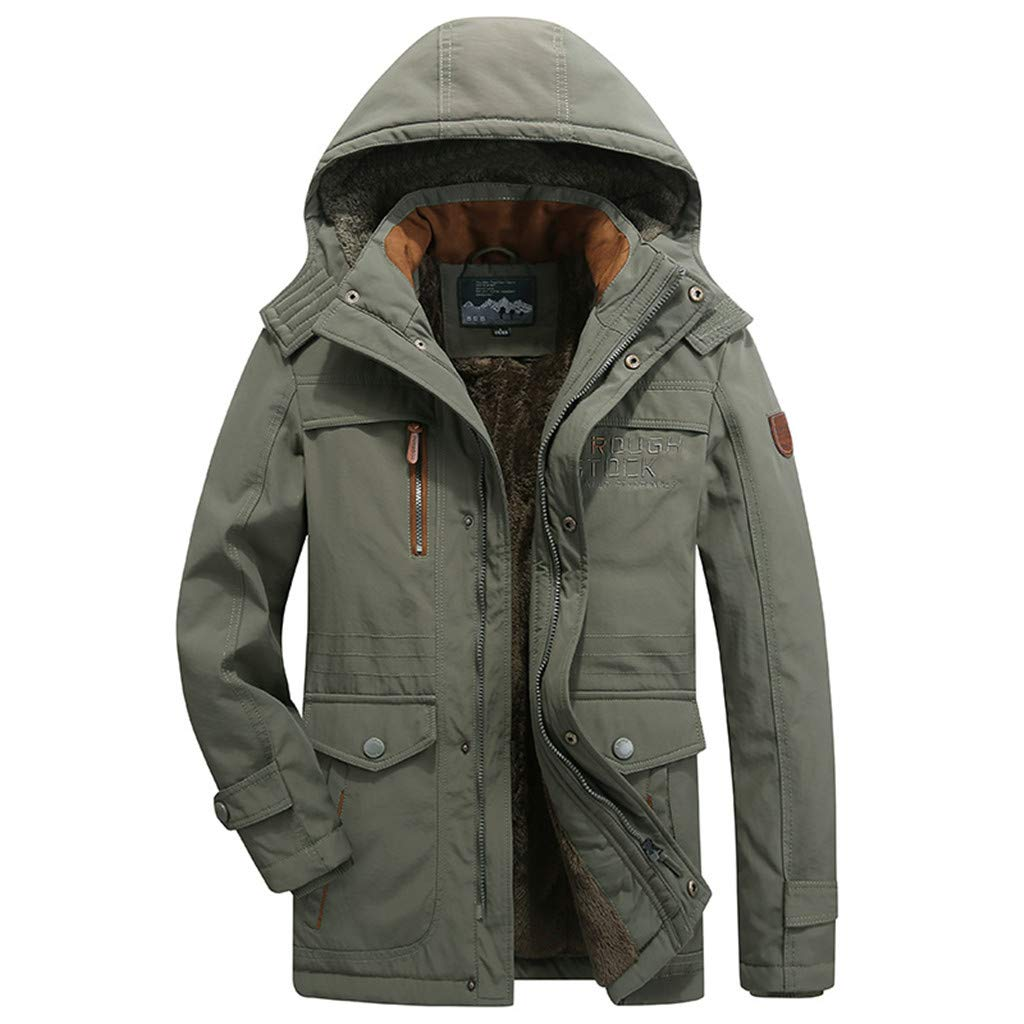 LUCAMORE Men's Winter Warm Faux Fur Lined Coat with Detachable Hood Big & Tall Thicken Parka Jacket Plus Size Army Green by Luca-Coat