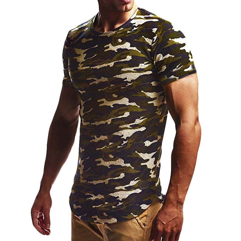 Oliviavan Sommer Mode T-Shirt Prined Casual Top Camouflage Männer Täglich Cool Casual Schlank Kurzarm-Shirt Top U Neck Sweatshirt blusen Tops Streetwear