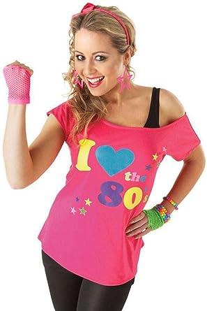 d96b6042be5 New Women Ladies I Love 80s T Shirt Top Fancy Dress Costume Neon Festival  Outfit Plus